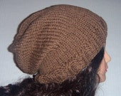 Men's Knit Hat in dark tan, Cafe Latte color, Handmade hat, knitted Slouchy Beanie