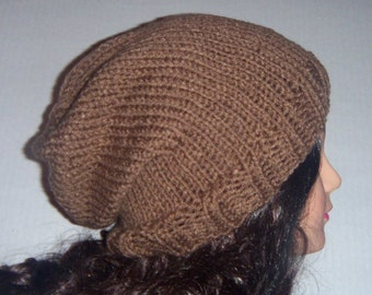 Dark Tan Slouch Hat, Cafe Latte Color, Handmade hat, knitted Slouchy Beanie
