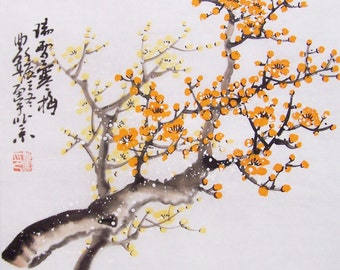 Cherry Blossom paintings Original  chinese  painting oriental art watercolour-Lovely cherry blossom tree No.83