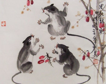 mouse  paintings Original  chinese  painting oriental art watercolour-mouse with fruit  No.1