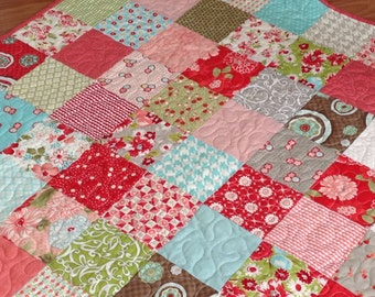 Made to Order-- Vintage Modern Red Pink Aqua Lap or Baby Patchwork Quilt