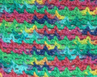Crocheted Dish Cloth in Psychedelic E001