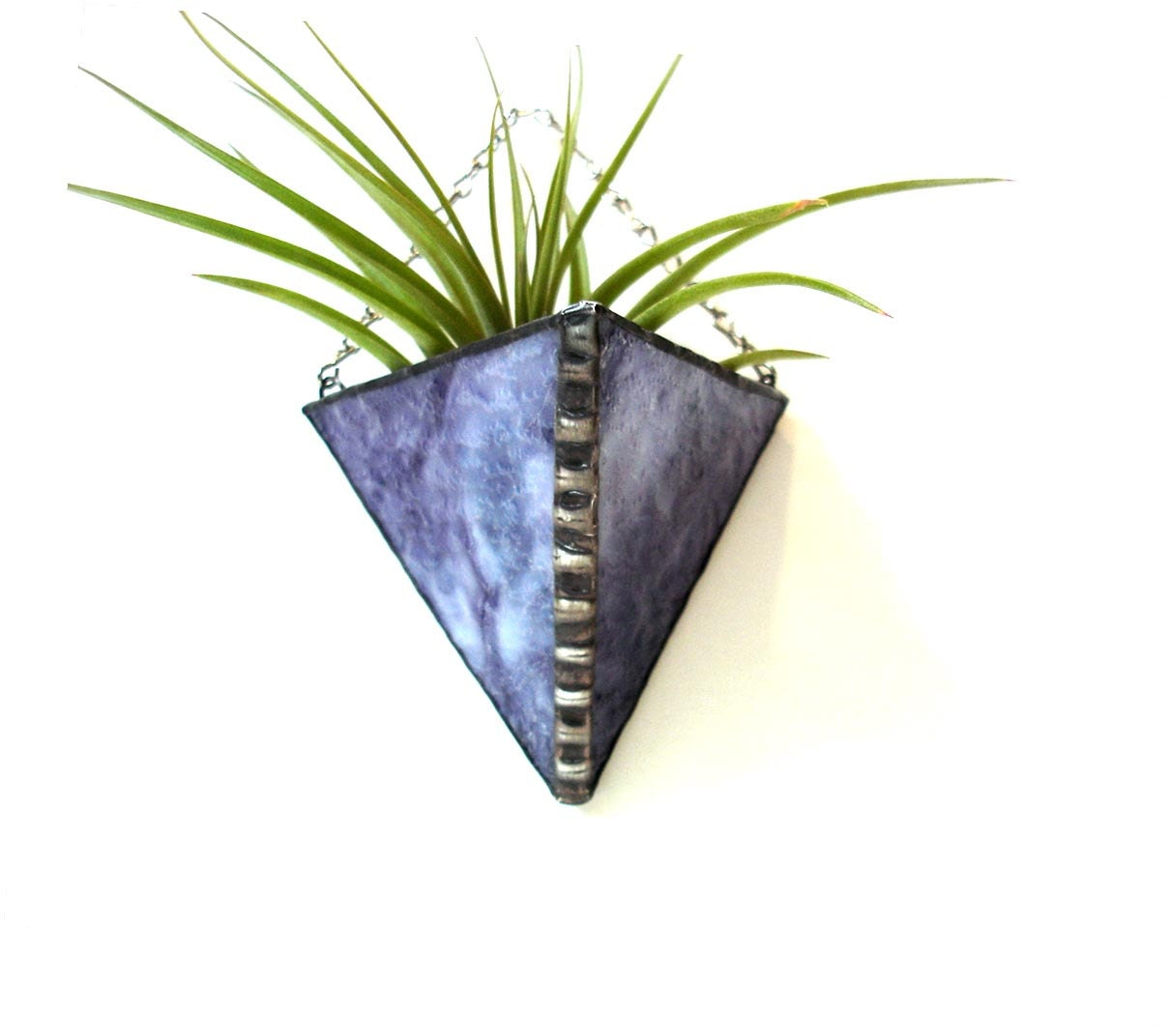Stained Glass Air Plant Holder Purple Amethyst Modern Wall