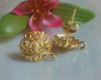 2 pcs - Best Seller, 24k Vermeil over Sterling Silver Filigree Floral Ear Post Earrings With Loop Plus ear nuts  12x10 mm - EP-0001