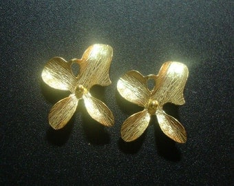 4 pcs, Handmade Findings, 22K Gold on 925 Sterling Silver 4 petal Orchid flower Connector - shinning