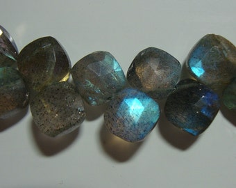 AAA, Fiery Blue Flash Labradorite Faceted Cushion Briolette, 7.5x8.5x4-5mm - 1/2 strand