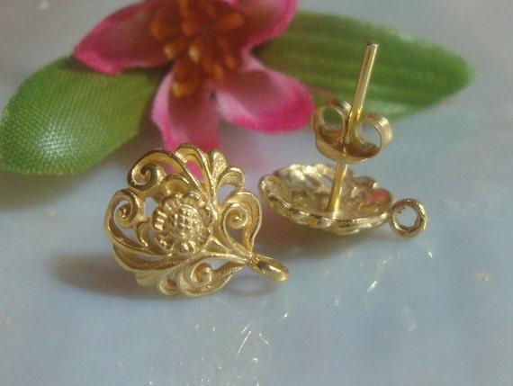 2 pairs - Best Seller, 24k Vermeil over Sterling Silver Filigree Floral Ear Post Earrings With Loop Plus ear nuts  12x10 mm - EP-0001