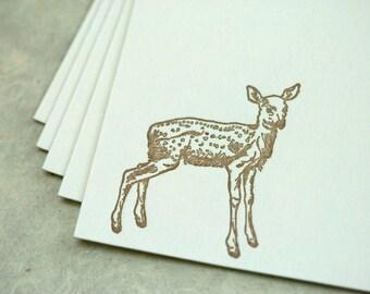 SALE - Letterpress note cards 10 pk - Fawn - 50% off