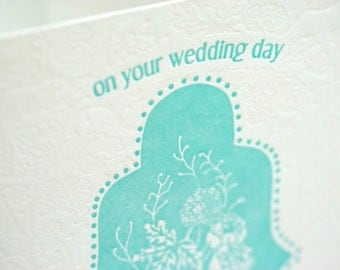 SALE - Letterpress Marriage card - Wedding Day - 60% off