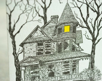 SALE - Halloween Letterpress card - Haunted house - 60% off