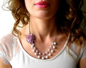 Purple Statement Necklace Double Strand Pearl Bridesmaid Necklace Rose Bib Necklace Purple Flower Jewelry Bridal Shower Necklace