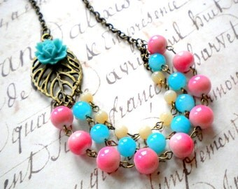 Turquoise Necklace Flower Necklace Turquoise Statement Necklace Pink Coral Necklace Beach Wedding Jewelry Summer Bridesmaid Jewelry