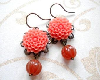 Flower Earrings Chandelier Earrings Flower Jewelry Flower Dangle Earrings Tangerine Earrings  Crysanthemum Earrings Feminine Jewelry