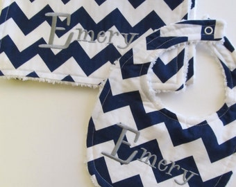 Personalized Bib and Burp Cloth Set- Baby Bib set- Baby Bib and Burp Cloth- Chevron Bib set -Personalized- Any Fabric