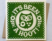 Owl Card - Hand Printed in Green
