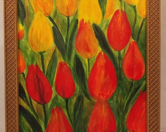 TULIP SUNRISE - Beautiful Original Acrylic Painting of Yellow and Red Tulips - 11x14
