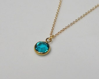 Custom Gold Birthstone Necklace, Free US Shipping