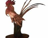 Grass Master Original Rick Cain Rooster Sculpture