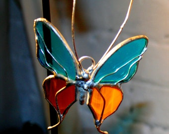 Small Orange and Blue Stained Glass Butterfly