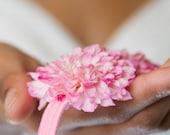 Rosy Pom Pom Flower Headband