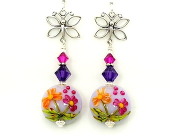 Colorful Floral Earrings, Butterfly Earrings, Lampwork Earrings, Glass Earrings, Beadwork Earrings, Dangle Earrings, Drop Earrings