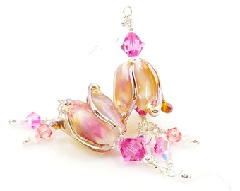 Pink Peach Tulip Earrings, Lampwork Earrings, Flower Earrings, Glass Bead Earrings, Dangle Earrings, Beadwork Earrings, Flower Jewelry