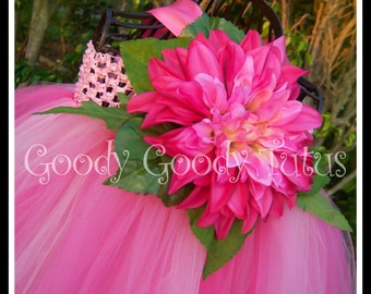 PINK BABYDOLL The Original Goody Goody Tutus Pink Tutu Dress with Flower and Greenery with Matching Headband - limited amount available