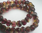 Picasso Czech Glass Beads 6 x 8mm Deep Pink and Yellow Amber Faceted Rondelles 10 Pcs. RON8-033