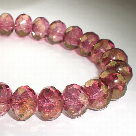 Large 10x8mm Czech Glass Beads Pink with a Gold Finish Faceted Rondelles 10 Pcs. 013