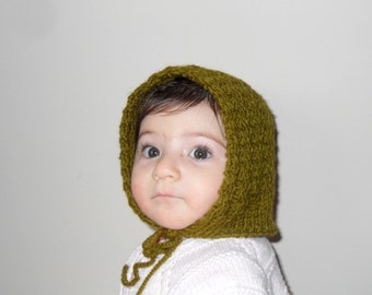SALE Baby Hat,Green Baby Hat,Chunky Hat,Beanie,Baby Girl Hat, Children accessories, For 3-6 Months