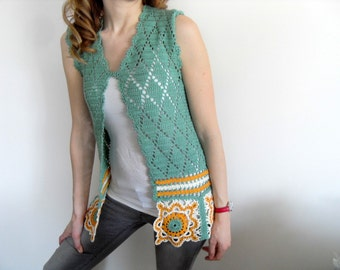 Crochet Vest,Summer Top, Granny Square Top,Lace Tank, Avocado Green Mustard,Romantic Top, Summer Fashion-Small Size
