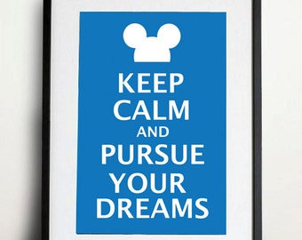 Digital Download - Keep Calm and Purse Your Dreams  - 8 x 10 inch print - Mickey Mouse and Disney