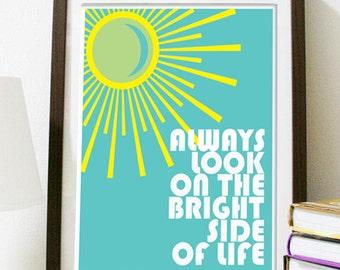 Digital Download - Always Look On The Bright Side - 8 x 10 inch print  - Monty Python