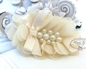 New: Pearlynn Collection - 2 pcs Silk Chiffon Pearl Fabric Flowers - IVORY Layered Bouquet flowers