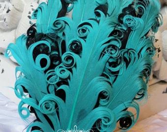 Two Tones Tropic Aqua Green / Black (047) Nagorie Feather Pad - Feather Pad - Curly Feathers - Goose Feather Pad
