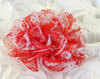 """NEW : 2 pieces 3.5"""" Shabby Chic Frayed Chiffon Mesh and Lace Rose Fabric Flower - White Red Polka dots with Red Lace"""