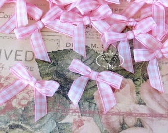 25 pcs Adorable Checkered Tiny Small Pink White Bows, Fabric Bows Tie