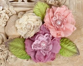 "NEW: ""Paquita"" Dawn 566418 MAgenta Peach Cream Chiffon lace fabric flowers with Green leaves"