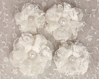 NEW: Prima Merci - Off White Ivory 566685 Ruffled Lace tulle fabric flowers with medallion pearl center.