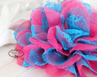 """NEW : 2 pieces 3.5"""" Shabby Chic Frayed Chiffon Mesh and Lace Rose Fabric Flower - Hot Pink w/ Blue lace"""