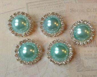 5 pcs - 20mm Silver Metal AQUA Pearl (no.3) Crystal Rhinestone Buttons Embellishments w/ shank - wedding / hair / garment / Flower Center