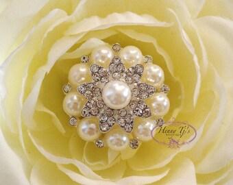 6 pcs - 26mm Silver Metal Plated Rhinestone Brooches/ Pearl brooch pin - wedding / hair / bridal / cake accessories
