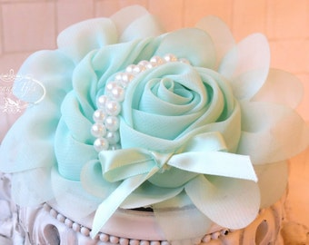 1 pc Seafoam Aqua Green Chiffon Flower With Pearl for headbands corsage shoes accessory LIMITED QUANTITIES