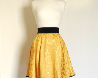 Size UK 8 (US 4) - Gold Damask and Black Velvet Flared Skater Skirt- Made by Dig For Victory