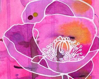 Flower Art Print - Pretty Poppy - wildflower artwork, floral art, poppy wall art