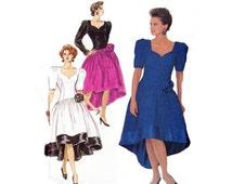 80s Morton Myles Waterfall Hem Prom Dress & Petticoat Pattern Butterick 4306 Vintage Sewing Pattern Size 12 14 16  Bust 34 36 38 UNCUT FF