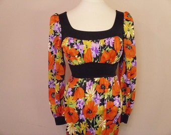 Vintage 1970's  OlgaWear Floral Maxi Dress
