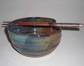 Spring Green and Rusty Nail Rice Bowl with Chopsticks