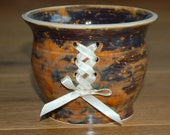 Handthrown pot brown beige home decor with corset ribbon lace detail. Quirky gift ooak