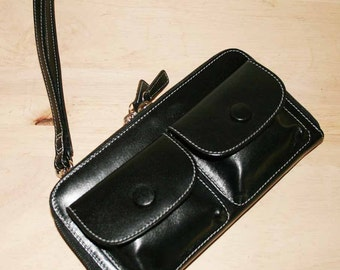 Genuine Leather Sling Bag or Clutch wallet or WRISTLET - with two leather straps, Vintage 90's